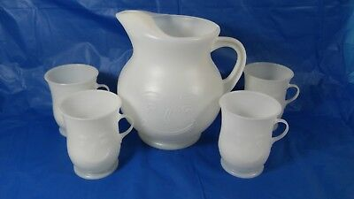 Vintage  Kool - Aid Man Pitcher And 4 Piece Cup Set