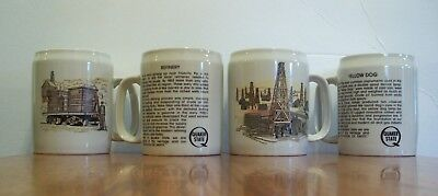 4 Quaker State Motor Oil Large 20 oz. Coffee Cup Mugs, Refinery, Early Oil Field