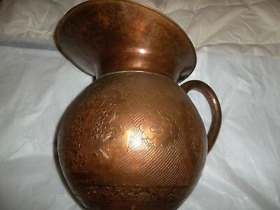 Large Antique Handmade Hammered Copper,Brass Water Pitcher