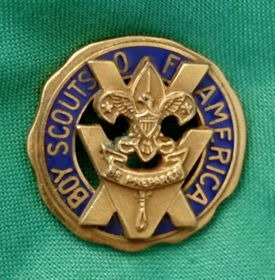 Vintage BSA Boy Scout 15 Year Veteran Pin Clutch Back Gold Plated