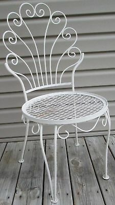 Vintage Mid Century Metal Wire White Chippy Paint Outdoor Patio Chair