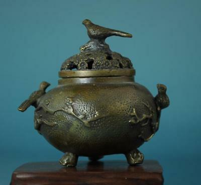 China Old Copper Flowers & Birds Three Foot Incense Burner /xuande Mark C01