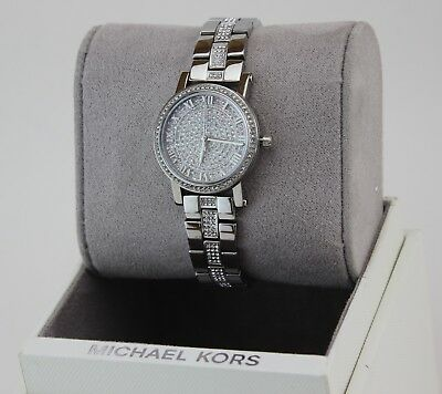 d5b5d104c39 New Authentic Michael Kors Petite Norie Silver Pave Crystals Womens Mk3775  Watch