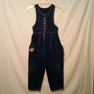 Vintage Popsicle Brand Jumper Girls Sz 6X Bib Overalls One-Piece Outfit Jean
