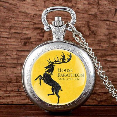 Antique Game Of Thrones Baratheon Pocket Watch Chain Vintage Pendant Gift Men