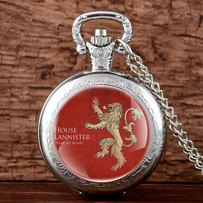 Game Of Thrones Lannister Antique Pocket Watch Quartz Necklace Chain Men Gift