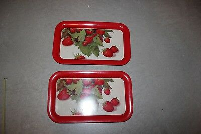 Vintage Set of 2 Serving Lap Trays Red Metal with Strawberry Design