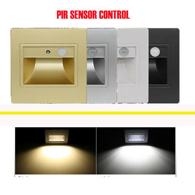 PIR Motion Sensor LED Stair Step Light Indoor Embedded Wall Light 1.5W AC85-265V