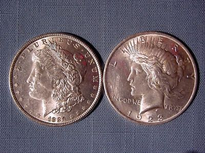 Lot of 2 Diff Type Silver Dollars - 1889 Morgan & 1923 Peace