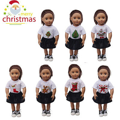 Cute Christmas Dress Clothes Accessories For 18 inch American Girl Doll Toys