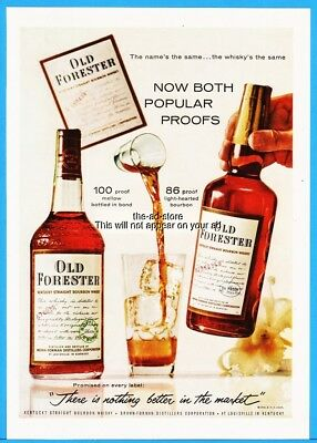 1960 Old Forester Bourbon Whisky Louisville KY 100 86 Proof Bottles Photo ad