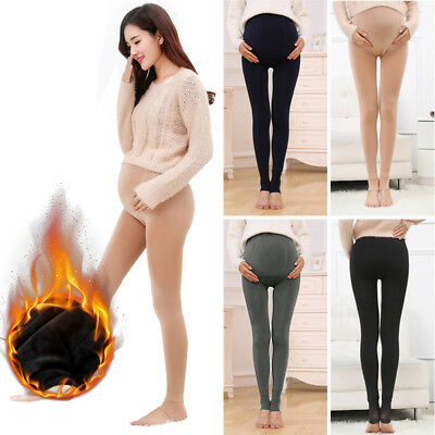 Pregnant Women's Thick Fleece Lined Thermal Pants High Waist Maternity Leggings