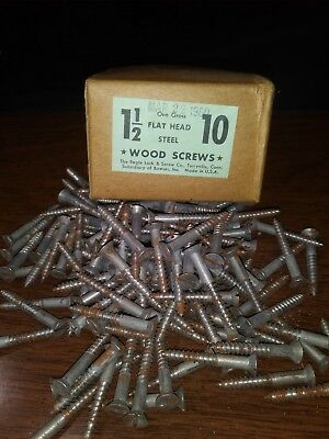 NOS from 1960 One Gross 10 x 1 1/2 Slotted Flat Head Vintage Steel Wood Screws