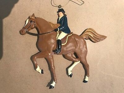 Large Chestnut Horse With white socks & English Rider Resin Ornament