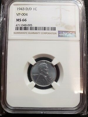 Rare 1943 D/D  RPM Lincoln Steel Wheat Cent NGC MS-66 GEM