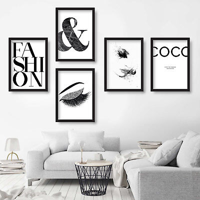 5 x FASHION Gallery Wall Art Prints COCO Eyelashes Picture Poster Mix 'A'