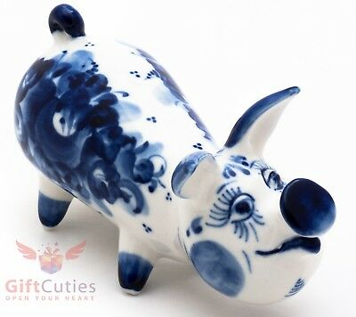 Porcelain gzhel Pig Piglet figurine handmade in Russia Symbol of 2019 New Year