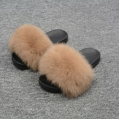 Hot Ladies Real Fox Fur Slippers Open Toe Fluffy Sandals Summer Comfy Slides AU