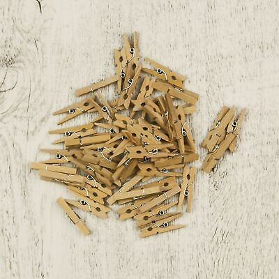 50 x SMALL WOODEN PEGS Bunting Mini Cute Decorative Wood Natural Photo Craft