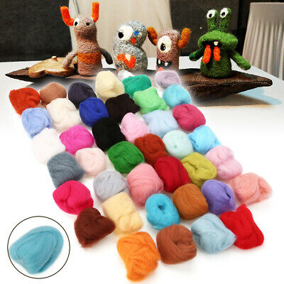 40 Colors Spinning Sewing Dyed Wool Tops Roving Fibre Mat Needle Felting Craft