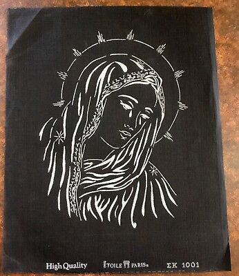 VINTAGE Unworked ETOILE PARIS BLACK TAPESTRY CANVAS France RELIGIOUS Madonna