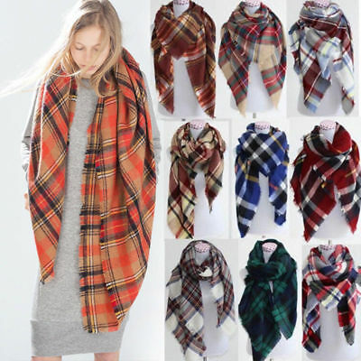 Fashion Womens Blanket Warm Tartan Scarf Wrap Shawl Plaid Cozy Pashmina Lot