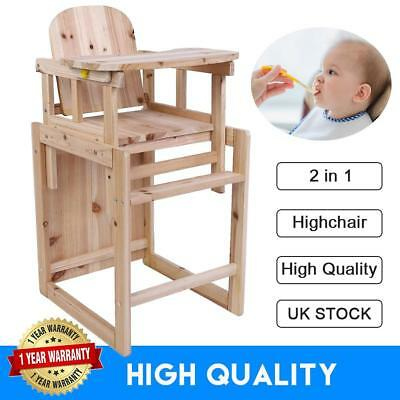 2 in 1 Wooden High Chair Toddler Child's Table & Chair Boy Girl Highchair
