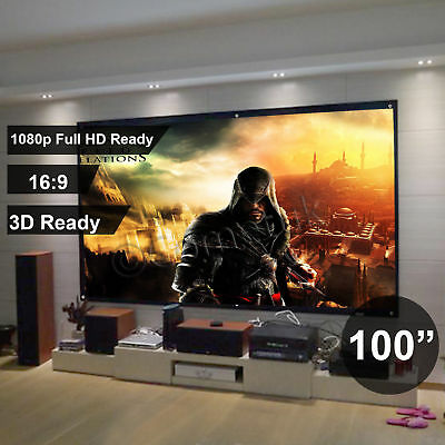 "100"" Inch Projector Projection Screen 16:9 White Matte 3D HD Home Cinema Fast UK"