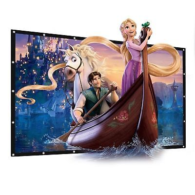 "100"" Inch Projector Projection Screen 16:9 White Matte 3D HD Home Cinema HDD UK"