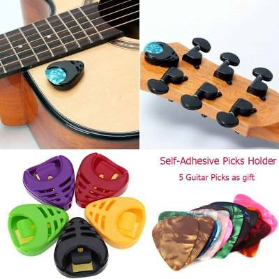 Self-Adhesive Plectrum Holder & 5 Assorted Picks Plec Acoustic Electric Guitar