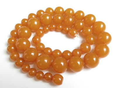 Antique Natural Pressed Baltic Amber. Round beads Necklace.