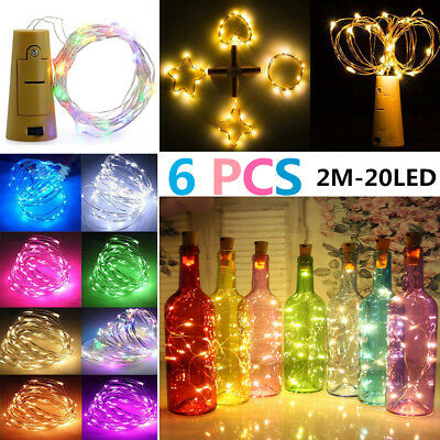 6pcs 20LED String Battery Copper Wine Bottle Wire Fairy Lights Party Christmas