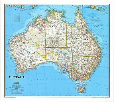 Australia NGS 770 x 690mm Laminated Wall Map