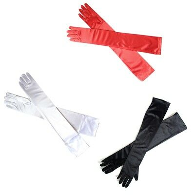 NEW Stretch Satin Extra Long Gloves Wrist Elbow Evening Party Fancy Costume Red