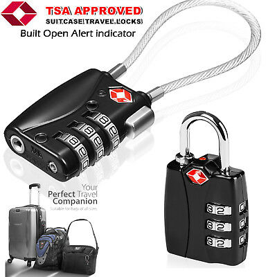TSA Approved Luggage Metal Lock with Long Steel Cable/OPEN ALERT INDICATION lot