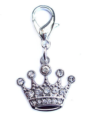 Diamante Crystal Crown Dog Cat Charm Silver Bling Rhinestone Pet Clip on New