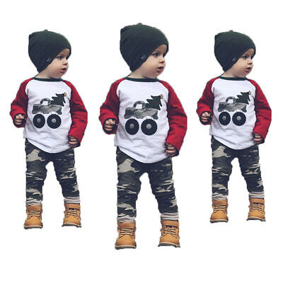 US Stock Christmas Cotton Toddler Baby Kids Boy Girl Outfits Clothes Tops +Pants