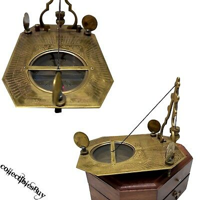 Vintage F COX Sundial Compass Wooden Box Nautical magnetic unique old instrument