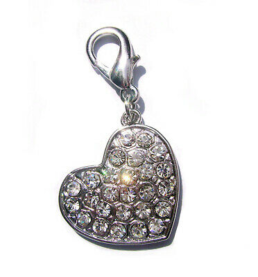 Crystal Dog Heart Charm Bling Clip on Collar Large Rhinestone Charm Brand New