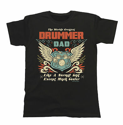 Mens T-Shirt Worlds Greatest DRUMMER Dad DRUMS Music Drumming Gift Xmas