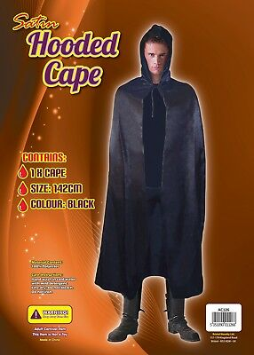 Black Satin Hooded Witch Vampire Dracula Cape 142cm Long Fancy Dress Halloween