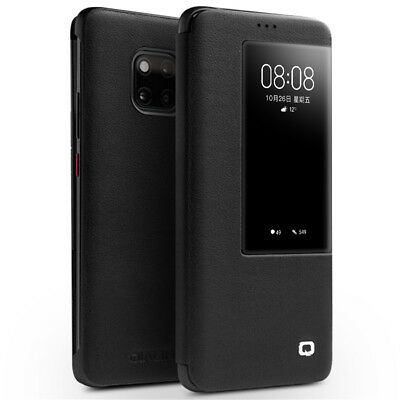 QIALINO View Window Cowhide Leather Smart Case for Huawei Mate 20 Pro