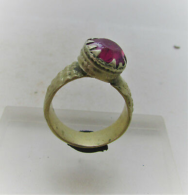 Beautiful Post Medieval Silvered Decorated Ring With Pink Stone
