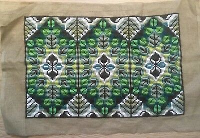 Vintage 1970s Swedish? tapestry, Cushion Wall hanging Greens Brown White