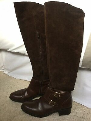 Leather & Suede Knee Length Boots Dark/Chocolate Brown Size 4/37