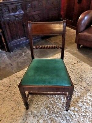 set of 6 mahogany dining chairs with padded seats including one carver
