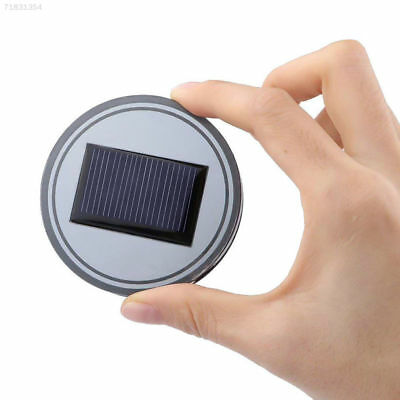 5AD7 2PC Solar Cup Pad Car Accessories LED Light Cover Interior Decoration Light