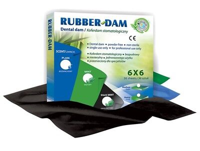 Dental Dam Rubber Dam sheets 6x6 medium 36 black sheets mint