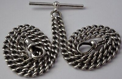 Gorgeous antique solid sterling silver double pocket watch albert chain, 1913