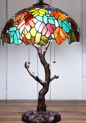 """Tiffany Style 24.5"""" Tall Maple Leaf Stained Glass Table Lamp 16.5"""" Shade Tree"""
